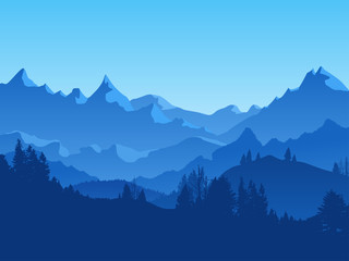 Cartoon Mountains and Forest Landscape Background. Vector