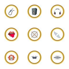 Rockstar icons set, cartoon style