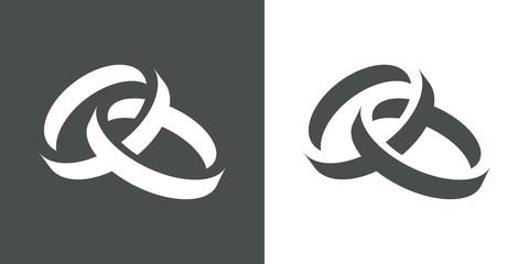 Icono plano anillos espacio negativo gris y blanco