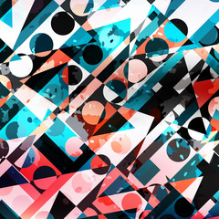 colored circles and polygons geometric abstract pattern