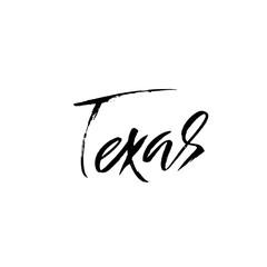 Texas. Modern dry brush lettering. Retro typography print. Vector handwritten inscription. USA state.
