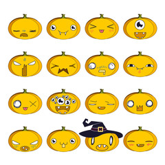 Colorful set of emoji pumpkins for Halloween.