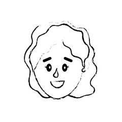 figure avatar woman head with hairstyle design