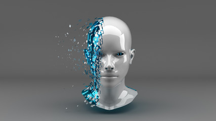 Head with Binary Code in Blue