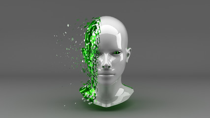 Head with Binary Code in Green