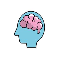 silhouette side man with anatomy brain