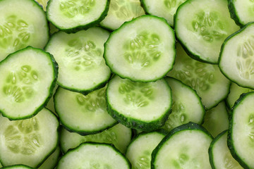 Slices of fresh cucumber, closeup