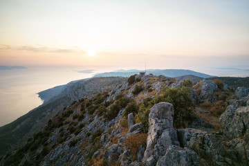 Sunset over Pakleni / Paklinski Islands from the Top of Sveti Nikola - the Highest Mountain on Hvar Island, Dalmatia, Croatia