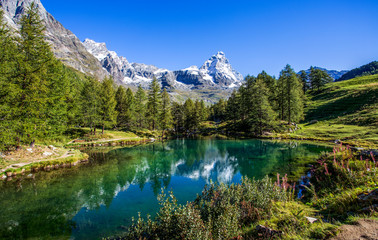 View of the Blue lake (Lago Blu) near Breuil-Cervinia and Cervino Mount (Matterhorn) in Val D'Aosta,Italy