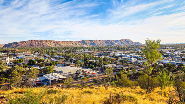 The town of Alice Springs in the middle of the desert