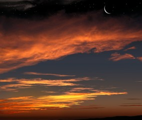 Red sunset and moon . Dramatic nature background . Religion background . The moon against the background