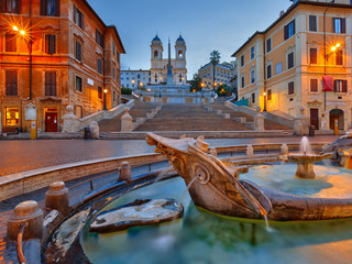 Spanish Steps at dusk in Rome, Italy