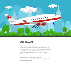 Airplane on the Background of the City Flies to the East and Text, Air Travel and Tourism Concept , Brochure Poster Flyer Design, Vector Illustration