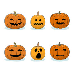 Set of Carved Scary Pumpkins, Jack-o-Lantern on White Background, Halloween Holiday , Vector Illustration