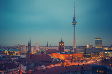 Aerial view of Berlin at night, Germany