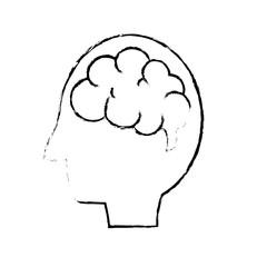 figure side man with anatomy brain