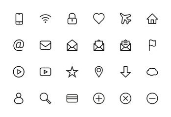 Web Set of Interface Vector Line Icons. Contains icons such as Smartphone, Wi-Fi, Lock, Heart, Airplane, House, @, Mail, Flag, Map, Star, Cloud, User and more. Editable Stroke. 16x16 Pixel Perfect