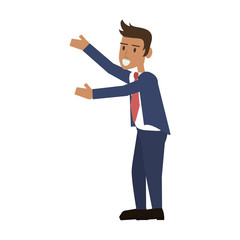 happy businessman stretching arms to the side icon image vector illustration design