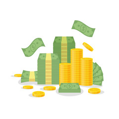 Money bundle and coin stack isolated on white background. Green dollar banknotes, bills fly, gold coins - flat vector illustration