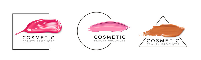 Makeup design template with place for text. Cosmetic Logo concept of liquid foundation, nail polish and lipstick smear strokes.