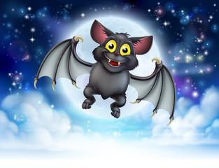 Cartoon Bat and Full Moon Halloween Scene