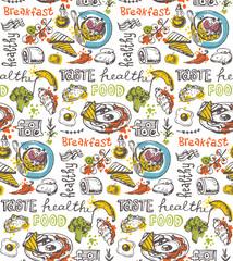 Hand drawn doodle food illustration. Big set Healthy food