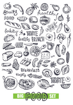 Hand drawn doodle food illustration. Big set Healthy food