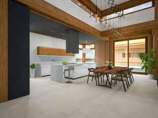 private wooden house interior 3d rendering