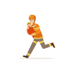 Fireman character in uniform and protective helmet rescuing a child, firefighter at work vector illustration