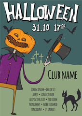Poster or flyer for Halloween night party. Jack-o'-lantern among the graves in the cemetery. Vector template illustration.