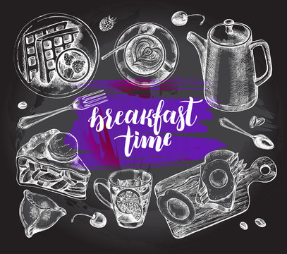 Breakfast set. Kettle, coffee in a cup, tea, waffles on a plate, apple pie, toast. Food elements collection. Vector ink hand drawn illustration with modern brush calligraphy style lettering.