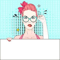 Pop Art Vintage advertising poster comic pink hair girl in blue cat-yey glasses holds a white banner. Vector illustration