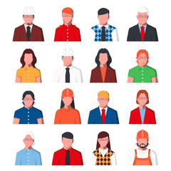 Group of business people in formal clothes. Male and female portraits for user profile picture. Set of avatars icons in flat style. Vector illustration.