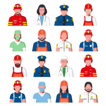 Working People Avatars. Portraits of Public Services Staff - Ambulance, Fire Guard and Police. Icons of Policeman, Fireman, Doctor, Rescuer and Engineer in Flat Style. Men and Women.