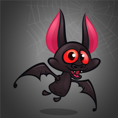 Cartoon bat. Halloween vector cute bat illustration. Halloween mascot