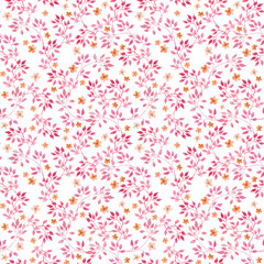 Seamless vintage pattern with watercolor pink leaves and retro tiny flowers. Watercolour