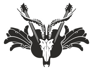 Vector black and white illustration with electric guitars and skull of goat, wings and feathers