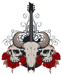 Vector illustration with skulls of a horned animal and human, electric guitar, red roses and drips of blood
