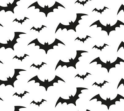 Bat silhouette seamless pattern. Halloween repeating texture. Scary endless background with flittermouse. Vector illustration