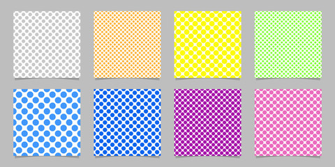 Color seamless polka dot pattern background template set - vector graphics from circles on white background
