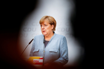 CDU news conference with Christian Democratic Union CDU party leader and German Chancellor Angela Merkel
