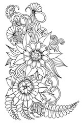 Black and white flower pattern for adult coloring book.