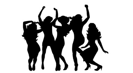 Vector silhouette of women on white background.