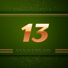 Realistic Thirteen Years Anniversary Celebration Logotype. Golden numbers and golden confetti on green background. Colorful Vector template elements for your birthday party