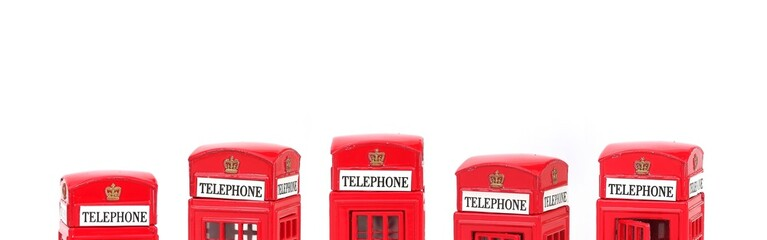 The famous English Red telephone box. Miniature layout, banner