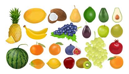 Isolated fruits set.