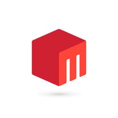 Letter M cube icon design template elements