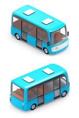 modern cartoon bus isometric
