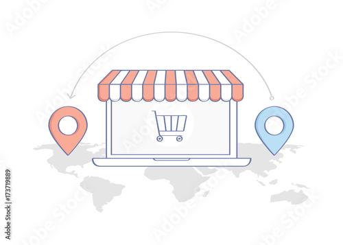 drop shipping online shopping goods cargo shipment concept world
