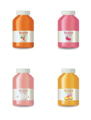 Juice or yogurt bottles set Vector realistic isolated on white. Product package design label fruit